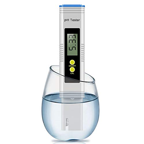 Digital PH Meter, Cakie PH Meter 0.01 PH High Accuracy Water Quality Tester 0-14 PH Measurement Range Household Drinking, Pool Aquarium Water PH Tester Design ATC (NewBlue) ()