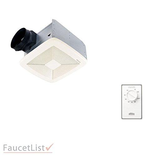 Broan QTXE110 Powerful 110 CFM Ultra Silent White Bath Ventilation Exhaust Fan INCLUDES Dehumidistat Automatic Humidity Sensing Wall Control Kit -