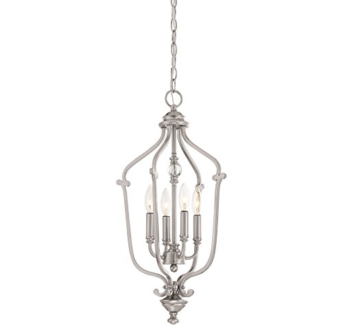 Chandelier Ceiling Savannah (Minka Lavery 3331-84 Minka Transitional Four Light Chandelier from Savannah Row Collection in Pwt, Nckl, B/S, Slvr.Finish, 13.00 Inches B/S 13.00 Inchesfour)