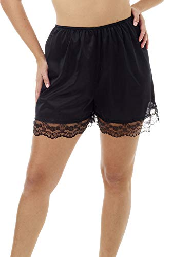 Underworks Pettipants Nylon Culotte Slip Bloomers Split Skirt 4-inch Inseam Large-Black ()
