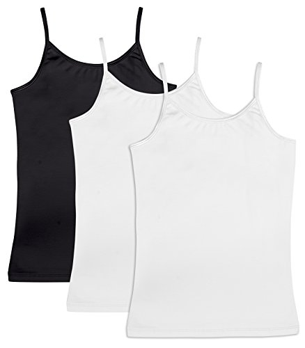 (Caomp Girls Cami Tank Tops 3 Pack Organic Cotton Spandex Undershirts, Adjustable Spaghetti Straps Black/White/White 9/10)