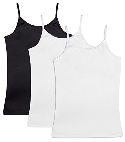 Caomp Girls Cami Tank Tops 3 Pack Organic Cotton Spandex Undershirts, Adjustable Spaghetti Straps Black/White/White 9/10
