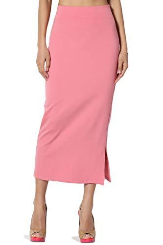 TheMogan Women's Side Slit Ponte Knit High Waist Mid-Calf Pencil Skirt Mauve -