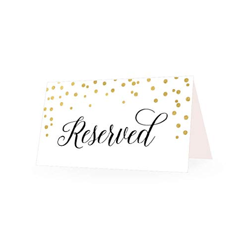 25 Gold Dots VIP Reserved Sign Tent Place Cards for Table at Restaurant, Wedding Reception, Church, Business Office Board Meeting, Holiday Christmas Party, Printed Seating Reservation Accessories ()
