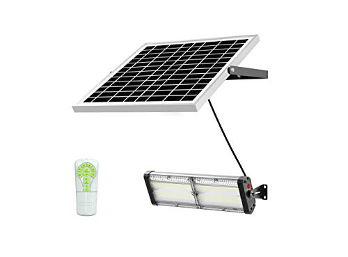 Solar LED Barn Light, 18,000mah Li-ion Battery for Outdoor/Indoor Flood Light with Remote Control, 5,000 Lumen by spc