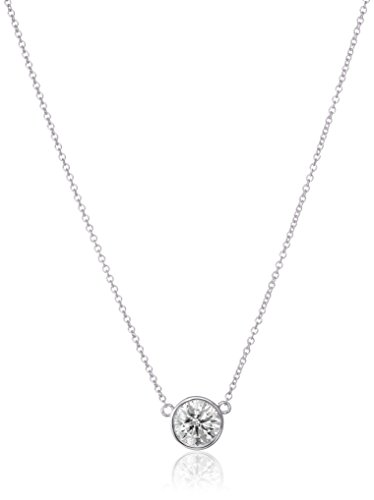 14k Gold Bezel Set Solitaire Adjustable Pendant Necklace