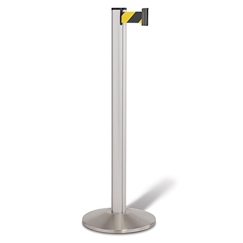 Beltrac 3000 Retractable Belt Stanchion, Satin Aluminum with 7 foot Safety Hatch Belt