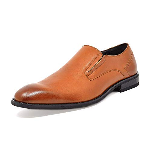 Bruno Marc Men's Tan Slip On Dress Shoes Washington-6 Size 9.5 M US]()