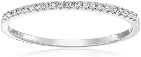 Dazzlingrock Collection 0.08 Carat (ctw) Round White Diamond Ladies Dainty Anniversary Wedding Band Stackable Ring, 10K Gold