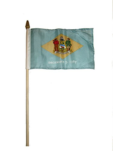 ALBATROS (6 Pack) 6x9 6ftx9ft State of Delaware Stick Flag with Wood Staff for Home and Parades, Official Party, All Weather Indoors Outdoors