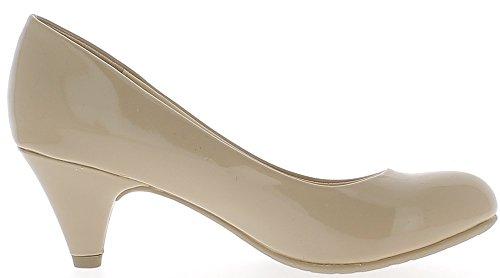 Escarpins classiques camel vernis à talons de 6cm bouts ronds