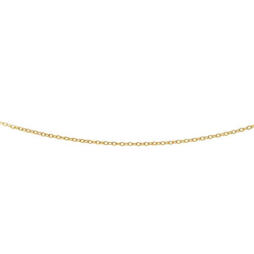 Luxurman 14K Yellow Solid Gold 2.5mm Diamond Cut Oval Textured Link Cable Chain 24