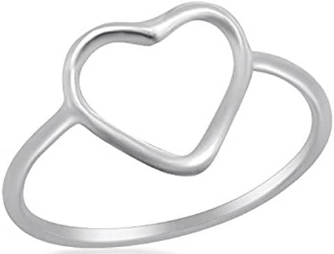 Fantom 925 Sterling Silver Hollow Heart Design Ring With Matte Finish - Light Weight (6)