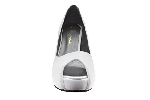 Andres con Peeptoe Faux White a Leather Machado interno AM239 e tacco plateau spillo SrwPSqpExt