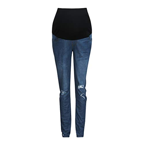 Maternity Pants Women's Ripped Ankle Jeans Indigo Blue French Terry Secret Fit Belly Denim ()