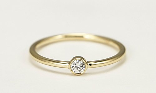 (14k Yellow Gold Solitaire Ring With Bezel Diamond Engagement Ring)