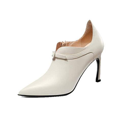 Beige Pointu ZPEDY Talons Chaussures éclair Mode pour Automne Sauvage Fermeture Hauts Femmes qWtTHPa