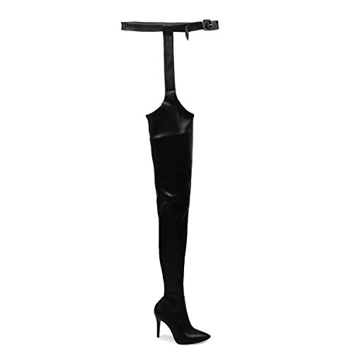OLCHEE Women's Fashion Thigh High Boots - Over The Knee Pointed Toe Sexy High Heeled Boots with Belt - Stiletto Heels Black Size 7.5