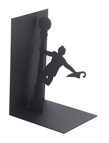 Maunsell Heavy Duty Metal Cartoon Art Bookends | Nonskid Organizer Decorative | Unique Kids Bookend Supports for Office Home Desk | Gift for Kids | Singing in The Rain | Black