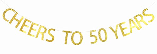 Gold Glitter CHEERS TO 50 YEARS Banner - 50th Birthday, Retirement, Wedding Anniversary Party Bunting Photo Props Decorations 50th Anniversary Themes