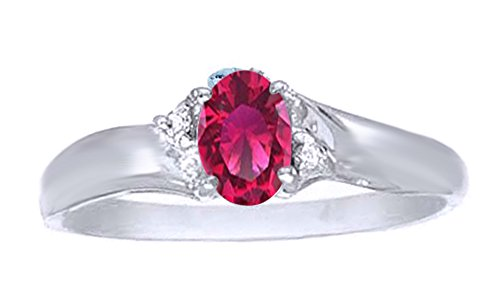 Jewel Zone US Simulated Ruby & White Natural Diamond Solitaire Engagement Ring in 10k Solid Gold (0.45 Cttw) (2 Carrot Diamond Engagement Ring)