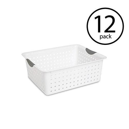 Sterilite Large Ultra Plastic Storage Bin Organizer Basket White, 12 Pack