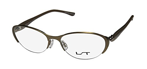 Lightec 7037l Womens/Ladies Designer Half-rim Flexible Hinges Eyeglasses/Spectacles (51-16-135, Antique Gold / - Frames Flexible Eyeglass Metal