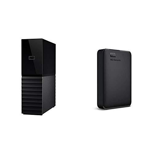 WD 8TB My Book Desktop External Hard Drive, USB 3.0 - WDBBGB0080HBK-NESN, Black & 4TB WD Elements Portable External Hard Drive, USB 3.0 - WDBU6Y0040BBK-WESN