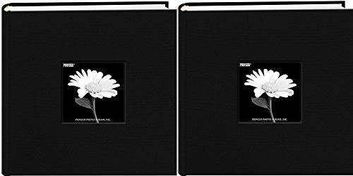 Fabric Frame Cover Photo Album 200 Pockets Hold 4x6 Photos, Deep Black (2 Pack by Pioneer Photo Albums