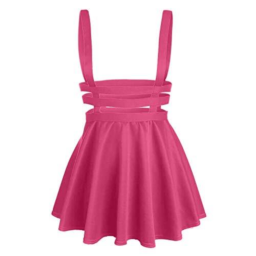HongmongWomens Pleated Short Braces Skirt Fashion Casual Skirt Hot Pink