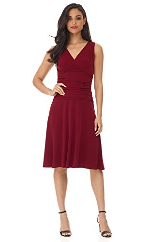 Jersey Knit Surplice Dress - Rekucci Women's Slimming Sleeveless Fit-and-Flare Tummy Control Dress (12,Burgundy)