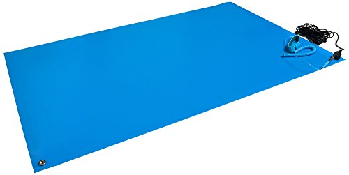 Bertech ESD Mat Kit with a Wrist Strap and a Grounding Cord, 18' Wide x 30' Long x 0.093' Thick, Blue