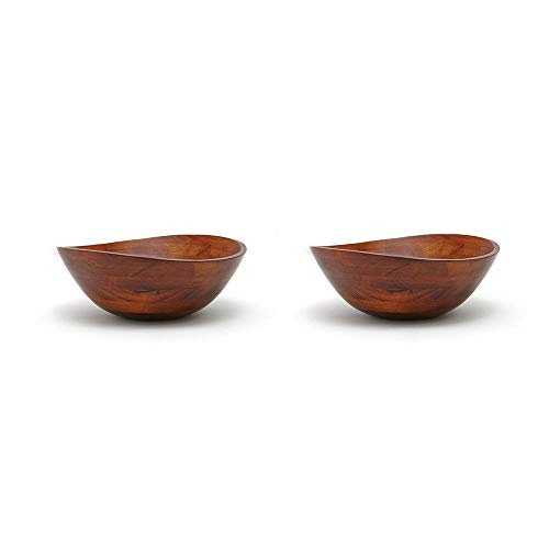 Lipper International Cherry Finished Wavy Rim Food Serving Wood Bowl (2 Pack)