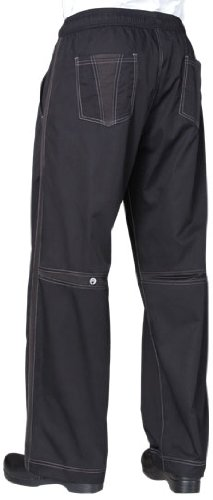 Chef Works Men's Cool Vent Baggy Chef Pants, Black, Large