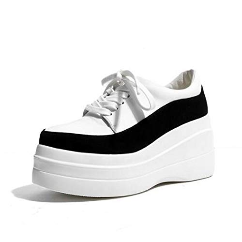 blanc Creepers Chaussures Sneakers Toe SHOESHAOGE Closed Noir Blanc Confort Femme wdzFFqI