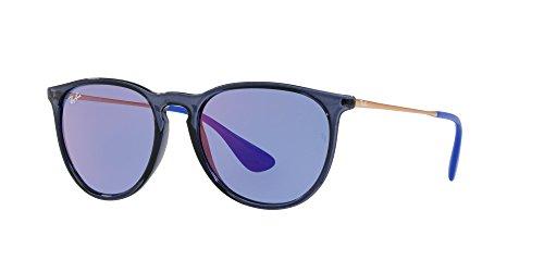 Ray-Ban Nylon Unisex Non-Polarized Iridium Aviator Sunglasses, Trasparent Blue, 53 - Blue Erika Ray Ban