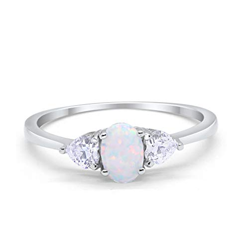 (Blue Apple Co. 3-Stone Fashion Promise Ring Oval Heart Lab White Opal Cubic Zirconia 925 Sterling Silver Size-9 )