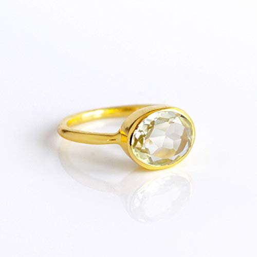 Oval Green Amethyst Ring Bezel Set in Sterling Silver or Vermeil Gold, February Birthstone Alternative