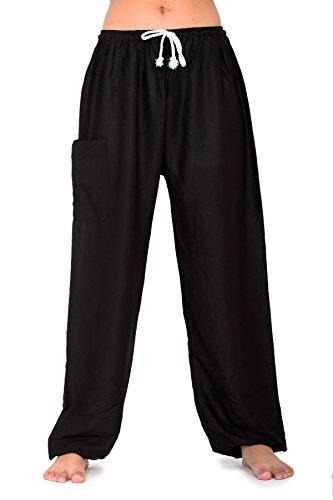 Bangkokpants Yoga Pants Unisex's Classic Black Us One Size Rayon