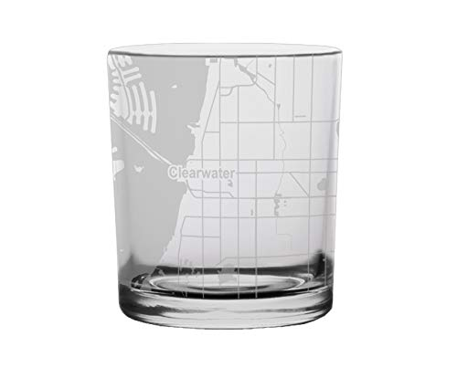 Clearwater City Map Whiskey Glass Florida ()