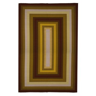 New Contemporary Area Rug 5 Feet X 8 Feet , Contemporary Gold, Yellow, Brown Red Stripe Pattern, Carpet, Soft Rug, Stain Resistant, Foyer, Dining Room, Living Room ()