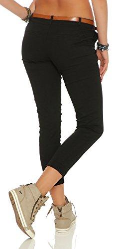 ZARMEXX estiran los pantalones flacos con la correa Chino-pantalones flacos de Jeggings de muchos colores negro