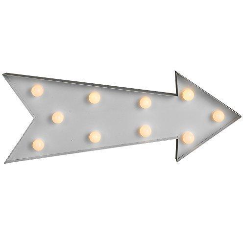 Zeitgenössische, moderne, batteriebetriebene und weiße LED-Lampe im Form eines Pfeiles