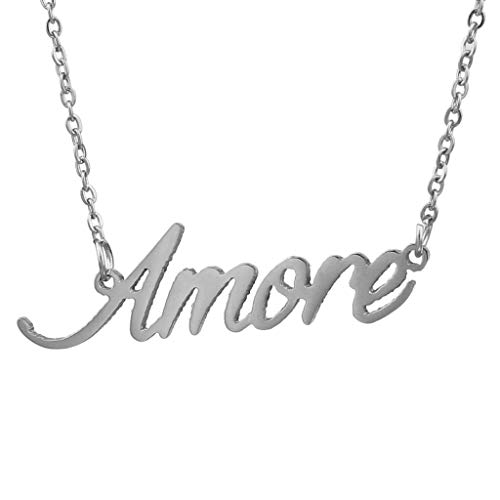 AIJIAO Steel Script Nameplate Amore Name Necklace Personalized Choker Women Gift/Amore Silver