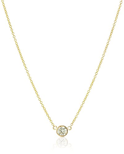 Yellow Gold Diamond Cable - 14k Yellow Gold Bezel Set Solitaire Adjustable Pendant Necklace (1/4cttw, K-L Color, I2-I3 Clarity), 16