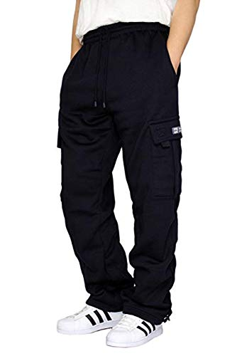 DREAM USA Men's Heavyweight Fleece Cargo Sweatpants, Navy, XX-Large