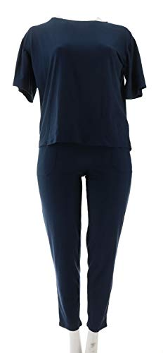 AnyBody Loungewear Cozy Knit Flutter SLV Pajama Set Navy M New A310049 from AnyBody