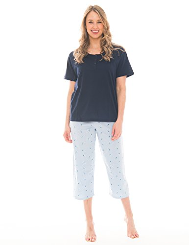 Pink Lady Women's Henley T-Shirt and Capri 2 Piece Lightweight Pajama Set (Skyway Blue Floral Henley, X-Large)