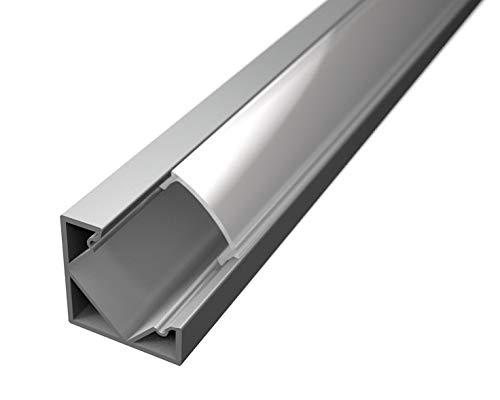 2barras Perfil de aluminio 45° de 1metro 6063tl1919para tiras de LED con carcasa mate Tapones y ganchos de montaje