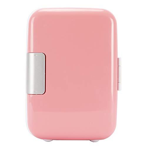 Mini Fridge 4 Liter Portable Cooler and Warmer Car Refrigerator for Skincare, Milk, Foods, Bedroom and Travel Fridge (Pink)